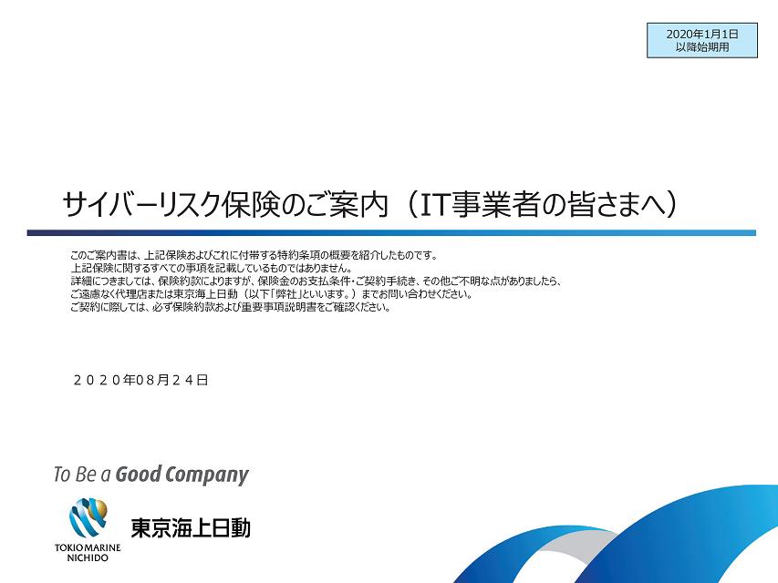 サイバーリスク保険 企画書  資料 パンフレット